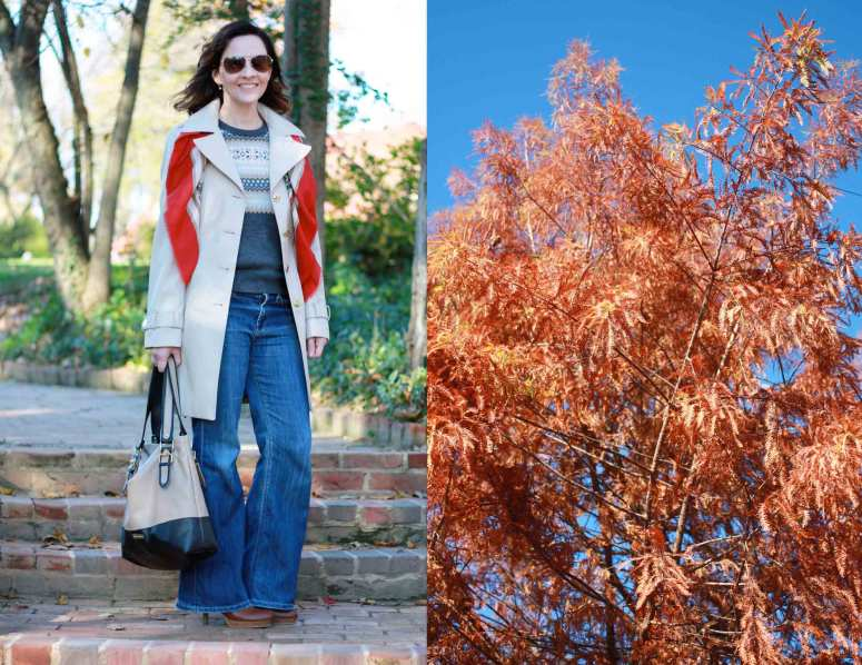 fall-trench-flared-jeans