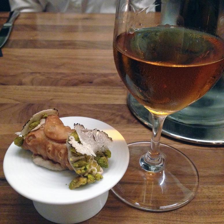 Foie gras cannoli with truffle and pistachio