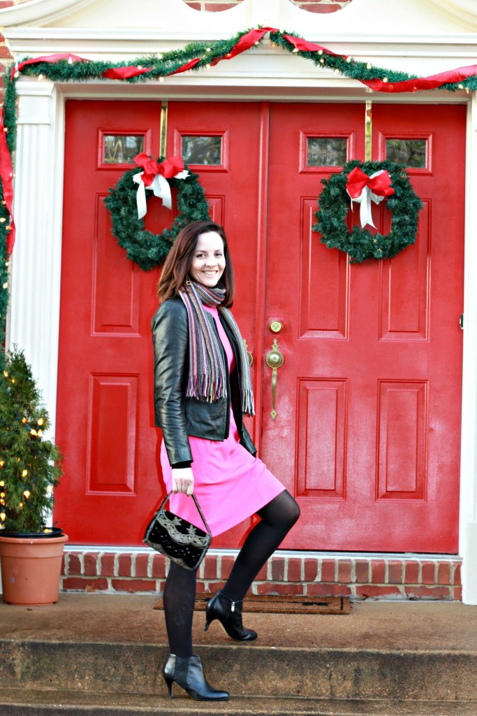 pink-dress-and-leather-jacket