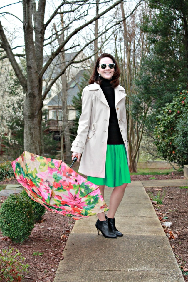 green-dress-and-trench-coat